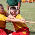 A Marine Military Academy Summer Camper participates in a tug of war competition