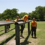 a low hurdle log obstacle on the Marine Corps obstacle course